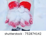 winter mood. white snow on red... | Shutterstock . vector #752874142