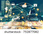 cloud computing and networking... | Shutterstock . vector #752877082