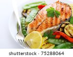 grilled salmon with vegetables... | Shutterstock . vector #75288064