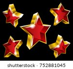 vector gold star symbols in 3d...