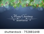 christmas background. snowy... | Shutterstock .eps vector #752881648