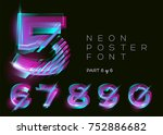 neon 3d typeset. glowing text... | Shutterstock .eps vector #752886682
