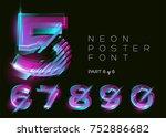 neon 3d typeset. glowing text... | Shutterstock .eps vector #752886682