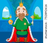 king with golden crown and red... | Shutterstock .eps vector #752892616