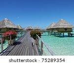 bungalows over bora bora   Shutterstock . vector #75289354