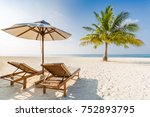 beautiful tropical maldives... | Shutterstock . vector #752893795