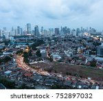 aerial view of a traffic jam on ...   Shutterstock . vector #752897032