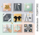 christmas realistic gift boxes... | Shutterstock .eps vector #752897302