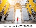 young woman tourist in red... | Shutterstock . vector #752905012