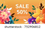 sale banner with colors flowers ... | Shutterstock .eps vector #752906812
