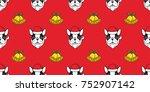 dog french bulldog santa claus... | Shutterstock .eps vector #752907142