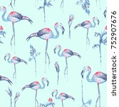 turquoise flamingo pattern... | Shutterstock . vector #752907676