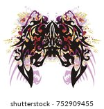 grunge awful butterfly. tribal... | Shutterstock .eps vector #752909455