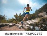 fitness woman trail runner... | Shutterstock . vector #752932192