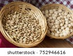 straw bowls full of green... | Shutterstock . vector #752946616