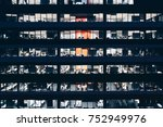 office building at night. late... | Shutterstock . vector #752949976