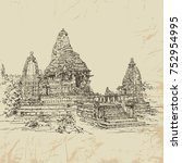 Indian temple Khajuraho. Temple of love. Temple complex. India. Tourism. Sights of India. Ancient buildings. Architectural monuments. Postcards. Vector illustration. Vintage