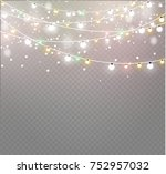 christmas lights isolated on... | Shutterstock .eps vector #752957032