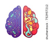 left and right human brain... | Shutterstock . vector #752957212
