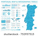 portugal map   detailed info... | Shutterstock .eps vector #752957515