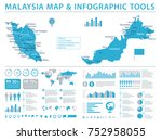 malaysia map   detailed info... | Shutterstock .eps vector #752958055