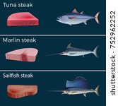 set of red meat fish   tuna ... | Shutterstock .eps vector #752962252
