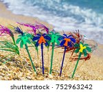 party on the golden sand on the ... | Shutterstock . vector #752963242