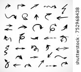 hand drawn arrows  vector set | Shutterstock .eps vector #752968438