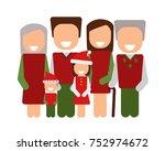 happy christmas family. vector... | Shutterstock .eps vector #752974672
