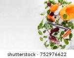 vegan diet food. selection... | Shutterstock . vector #752976622