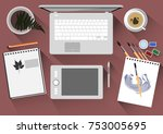 top view of the workplace of a... | Shutterstock .eps vector #753005695
