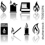 set of a fire icons ... | Shutterstock .eps vector #75301096