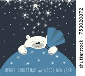 christmas card. the smiling...   Shutterstock .eps vector #753020872
