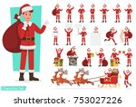 set of men with santa claus... | Shutterstock .eps vector #753027226