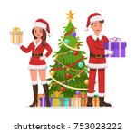 santa claus man and woman... | Shutterstock .eps vector #753028222