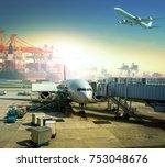 cargo plane loading commercial... | Shutterstock . vector #753048676