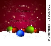 merry christmas background with ... | Shutterstock .eps vector #753057922
