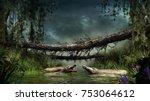 Scene With Crocodiles  Swamp...