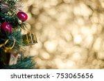 abstract blur christmas tree... | Shutterstock . vector #753065656
