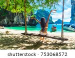 traveler woman in bikini... | Shutterstock . vector #753068572