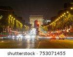 champ elysees traffic and light ... | Shutterstock . vector #753071455