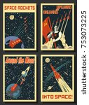vector space posters. stylized... | Shutterstock .eps vector #753073225