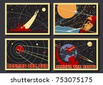 vector space posters. stylized... | Shutterstock .eps vector #753075175