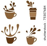 coffee cup with splash | Shutterstock .eps vector #75307684