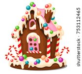 festive cake in shape of... | Shutterstock .eps vector #753112465