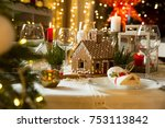 beautiful served table with... | Shutterstock . vector #753113842