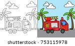 firetruck vector cartoon... | Shutterstock .eps vector #753115978