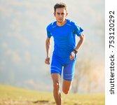 athlete running in the... | Shutterstock . vector #753120292