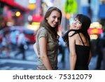 two beautiful young women at... | Shutterstock . vector #75312079