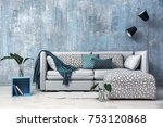 modern room design with grey...   Shutterstock . vector #753120868